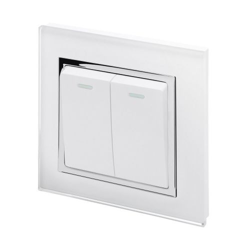 RetroTouch 2 Gang 1 Way 10A Pulse/Retractive Light Switch White Glass CT 00220